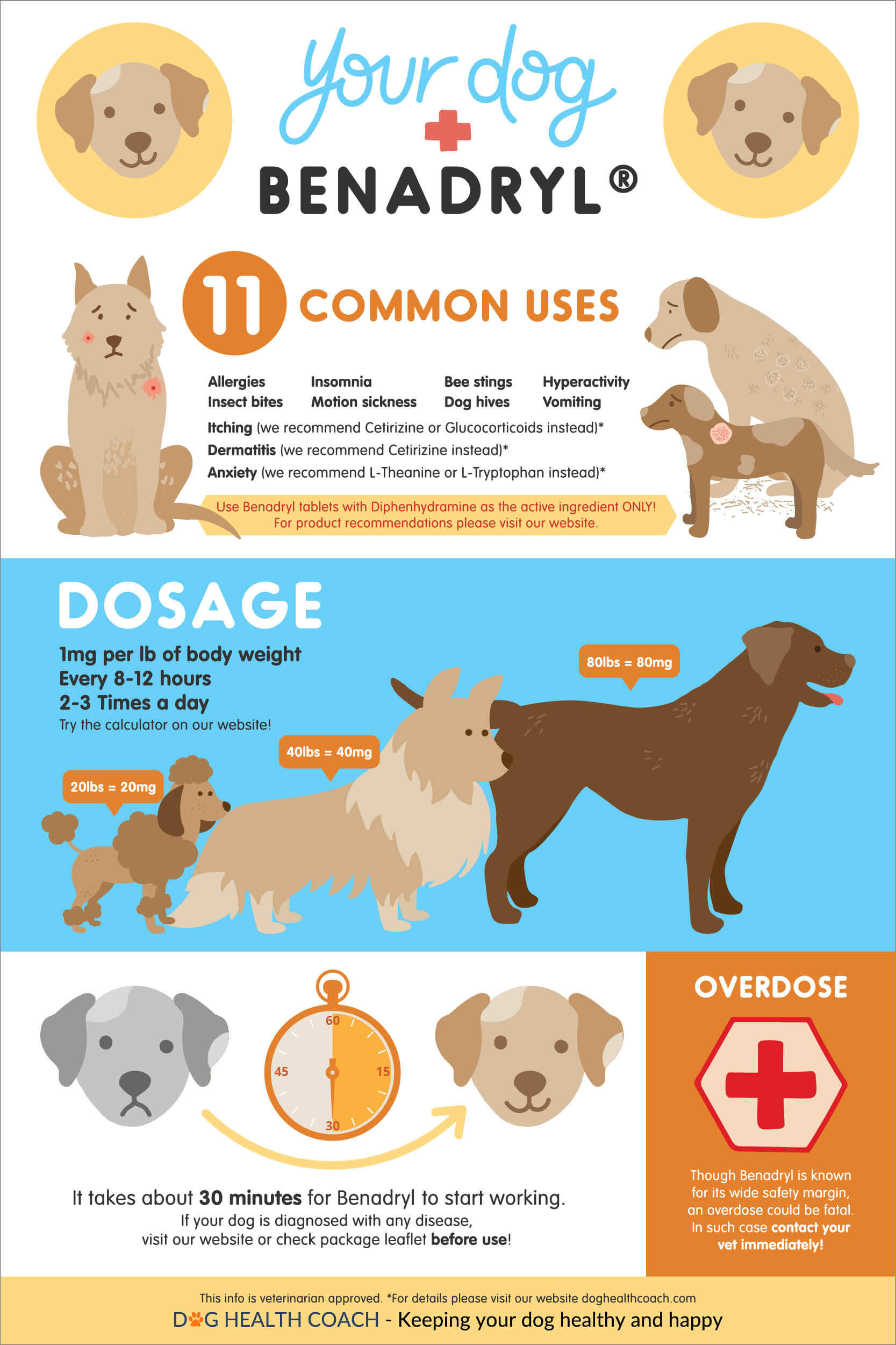 benadryl for dogs: uses, side effects, dosage, overdose vet approved!